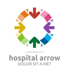 Abstract logo hospital arrow colorful design icon vector