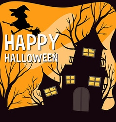 Halloween theme with witch and haunted house vector