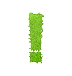 Exclamation sign consisting of green leaves vector