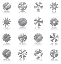 metallic diskshaped icons vector image