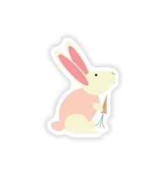 Stylish paper sticker on white background rabbit vector