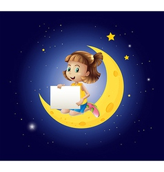 A girl above the moon with an empty signboard vector image vector image