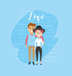 beauty couple together and romantic relationship vector image