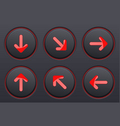 black buttons with red arrows up down right vector image vector image