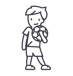 boy with ball line icon sign vector image vector image