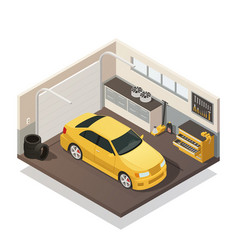 Car maintenance service isometric interior vector