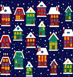 Christmas background with houses vector