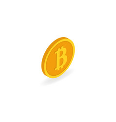 coin bitcoin on a white background isometric vector image vector image