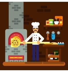 Cook baker cooking pizza icon bakery background vector