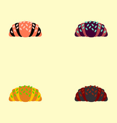 Croissant set icons vector
