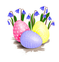 Easter flower and eggs vector