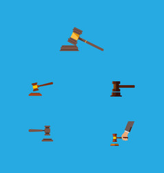 Flat icon lawyer set of crime legal court and vector