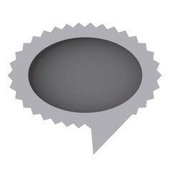 Grayscale oval cloud chat bubble vector