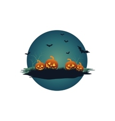 Halloween pumpkins and bat vector
