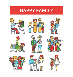 happy family thin line icons linear vector image vector image