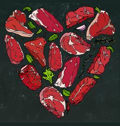 heart of meat steaks on chalkboard vector image