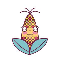 kawaii cute happy corn food vector image