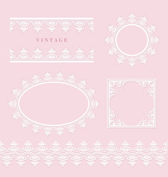 lace decorative frame and border set on pastel vector image vector image