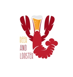 lobster and beer negative space design template vector image