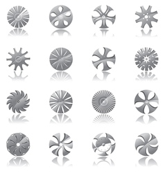 metallic diskshaped icons vector image vector image