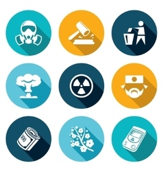 Nuclear power in japan icons set vector