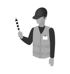 Parking attendant icon in monochrome style vector