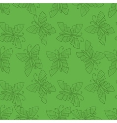 Seamless doodle with butterfly vector