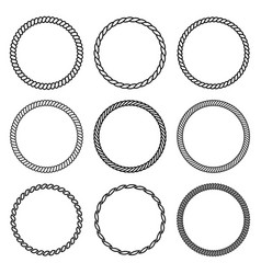 Set of round rope frame collection of thick and vector