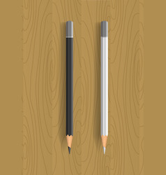 two realistic pencils on wooden table vector image vector image