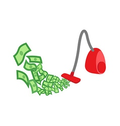 Vacuum cleaner gather money vector image