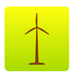 Wind turbine logo or sign brown icon at vector