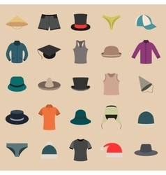 A set of clothes and hats vector