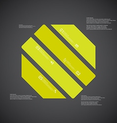 Octagon template consists of four green parts on vector