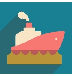 Flat with shadow icon and mobile application boat vector image