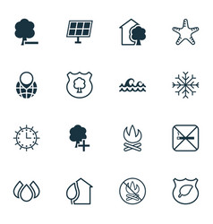 set of 16 eco icons includes insert woods vector image