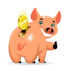 Successful piggy bank vector