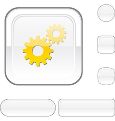 Settings white button vector