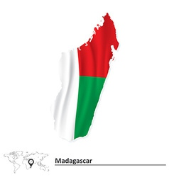 Map of madagascar with flag vector