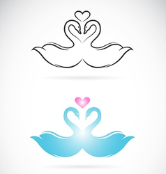 image of two loving swans vector image