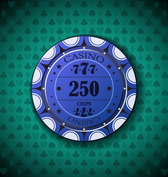 Poker chip nominal two hundred fifty on card vector
