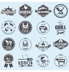 Seafood labels and butcher shop vector