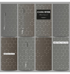 Set of modern flyers chemistry pattern hexagonal vector