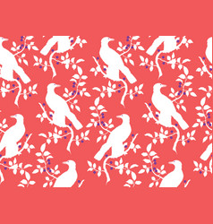Bird on branch seamless pattern vector