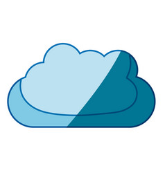 Blue silhouette with mass of clouds vector
