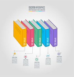books with timeline infographic design vector image
