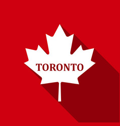 canadian maple leaf with city name toronto flat vector image vector image