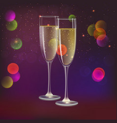 Champagne glasses and streamer with on dark vector