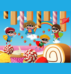 Children playing in candy land vector