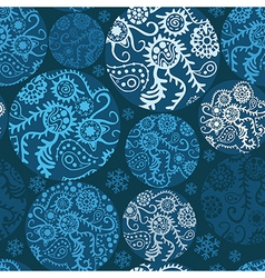 Christmas balls seamless pattern in blue vector image vector image