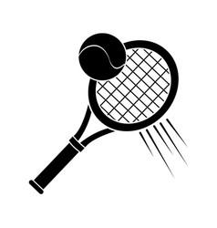 Contour racket and tennis ball icon vector